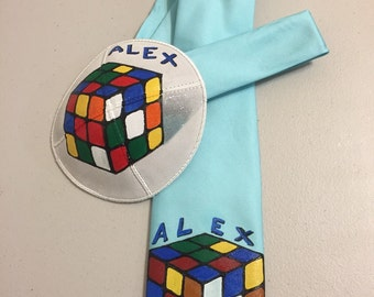 Custom hand painted Rubic cube kippah and matching tie personalized