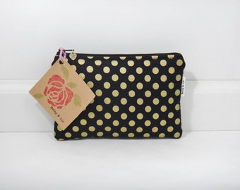 Black with Gold Polka Dot Small Cosmetic Bag, Small Pouch, Makeup Bag, Small Pouch Purse, Small Cosmetic Pouch, Zipper Pouch, Makeup Pouch