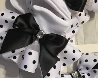 Girls white and black pokla dotted ruffle socks