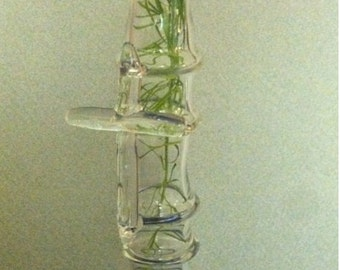 Clear Glass Vase with Cross