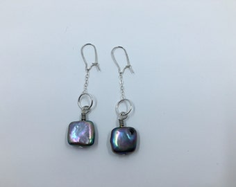Simple Colored Freshwater Pearl Dangle Earrings