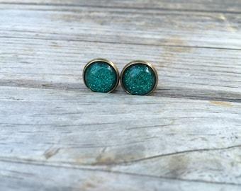 Glittery Green earrings, stud earrings, cabochon earrings, 12mm earrings, holiday earrings, stocking stuffer, gifts for her