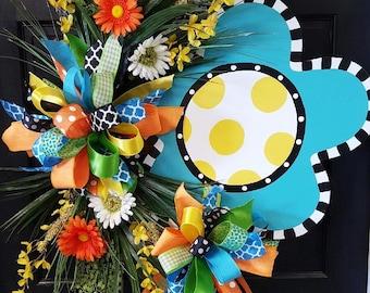 Sassy Flower Wreath, Door Decoration, Summer Door Decor