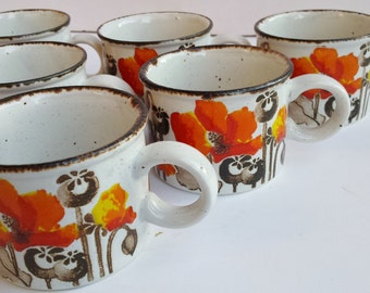 Set of 6 England Midwinter Poppies Speckled Clay Mugs