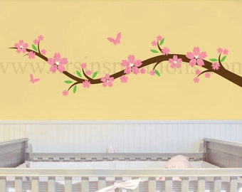 Flower Branch with Butterflies Wall Decal