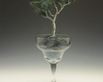 Wire bonsai tree in a daiquari glass