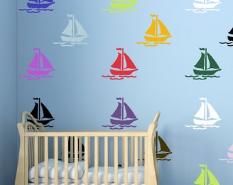 Boat  Wall Stencil, Wall Art Stencil  in reusable Mylar, wall art, small to large stencils up to 19.5 x 27.5 inches.