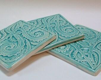 3 Fern tile for kitchen back-splash/n 4.25 inch/Sea Green glaze/kitchen tile/ Fiddle-head fern tile