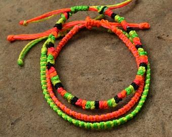 Set of 3 Neon Friendship Bracelets Hand-Made, Hand-Made, Bright Bracelet, Summer Bracelet, Unisex Bracelet, Christmas Gift, Stocking Filler