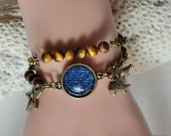 chain cabochon jean Tiger eye bracelet