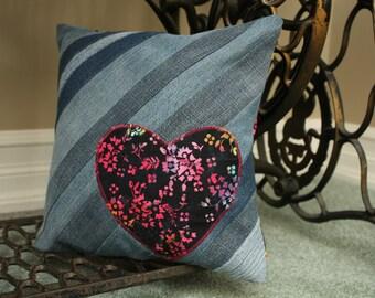 """Denim Heart Cushion Cover - 12"""""""