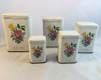 Set Of Five French Canisters