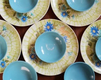 Vintage Turquoise Melmac dishes, Assorted Lot includes 4 plates, 3 cups and 7 bowls - great camping set