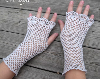 Crochet fingerless gloves, cotton gloves, knitted fingerles gloves, wedding gloves, boho mittens, lace gloves, white gloves, crochet mittens