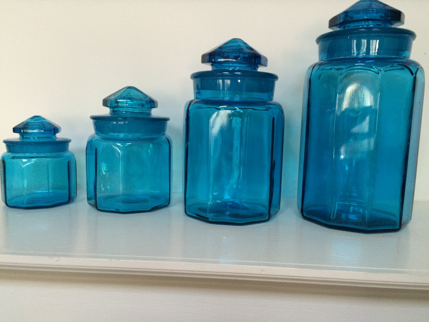 Turquoise blue glass kitchen canisters apothecary jars 10 - Blue glass kitchen canisters ...