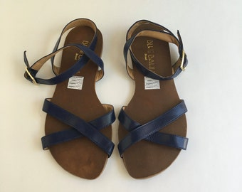 Brazilian Leather Ankle Strap Sandals for Women in Navy Blue