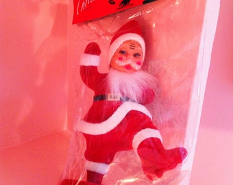 New old stock Christmas fuzzy santa in orginal package