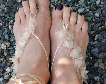 Champagne beige lace-up barefoot sandals;wedding barefoot sandals;lace-up barefoot sandals