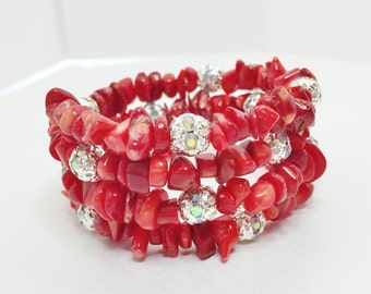 Red Coral Bracelet Coral and Crystal Jewelry Memory Wire Bracelet Stacker Jewelry Anytime Jewelry Bold Bracelet for Her Pretty Gift for Wife