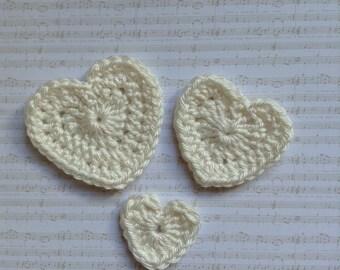 Crochet Heart Appliques Embellishments in Cream