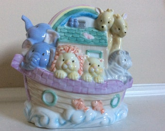 Enesco Colorful Porcelain Noah's Arc Nursery/Child's Coin Bank.