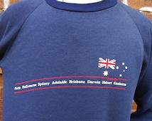 80's australia blue sweatshirt