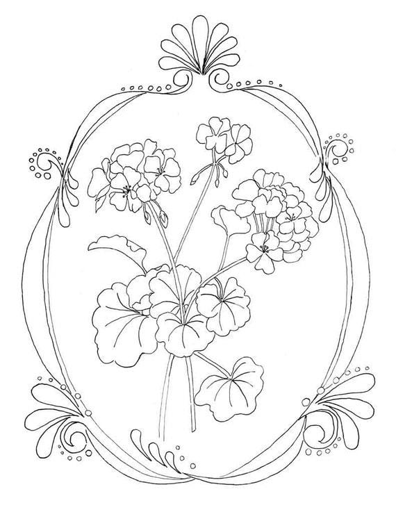 geranium coloring page - geraniums coloring page flower coloring page instant
