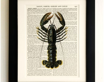 ART PRINT on old antique book page - Large Lobster, Vintage Upcycled Wall Art Print Encyclopaedia Dictionary Page, Fab Gift!