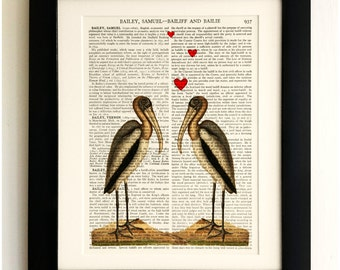 ART PRINT on old antique book page - Birds in love, Vintage Upcycled Wall Art Print Encyclopaedia Dictionary Page, Fab Gift!