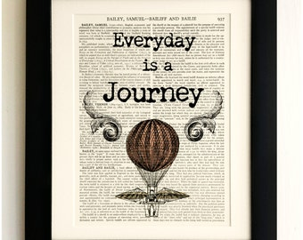FRAMED ART PRINT on old antique book page - Everyday is a Journey Quote, Vintage Upcycled Wall Art Print Encyclopaedia Dictionary