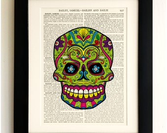 FRAMED ART PRINT on old antique book page - Sugar Skull, Vintage Upcycled Wall Art Print Encyclopaedia Dictionary, Fab Gift