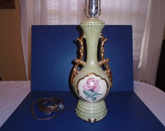 Vintage Lamp / Porcelain Lamp / Hollywood Regency Lamp /  Mid century lamp / Lamp without shade