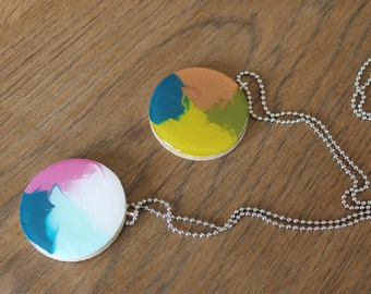 Hand painted wood pendant on ball chain