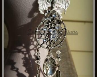 White Dragon Pendant, Dream Catcher Pendant, Silver Spoon Pendant, Spoon Necklace, Dream Catcher Necklace, Dragon Necklace, Spoon Necklace