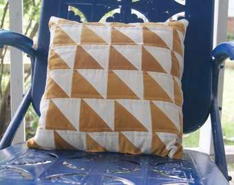 Gifts For Her, Gifts For Mom, Geometric Accent Pillow / Quilted / 16 x 16 Throw Pillow With Mustard Yellow and Cream Triangles