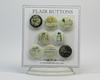 Vintage Style Flair Buttons – Set of 8