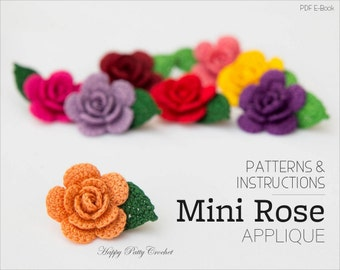 Crochet Mini Rose Pattern - Crochet Flower Applique Pattern - Easy Crochet Flower Pattern - Crochet Rose Pattern - Instant Download