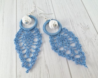 Blue Lightweight Drop Earrings, Dangle Crochet Earrings, Blue Earrings, Silver Earrings, Delicate Earrings / Katarzyna Bodera, Sandycraft