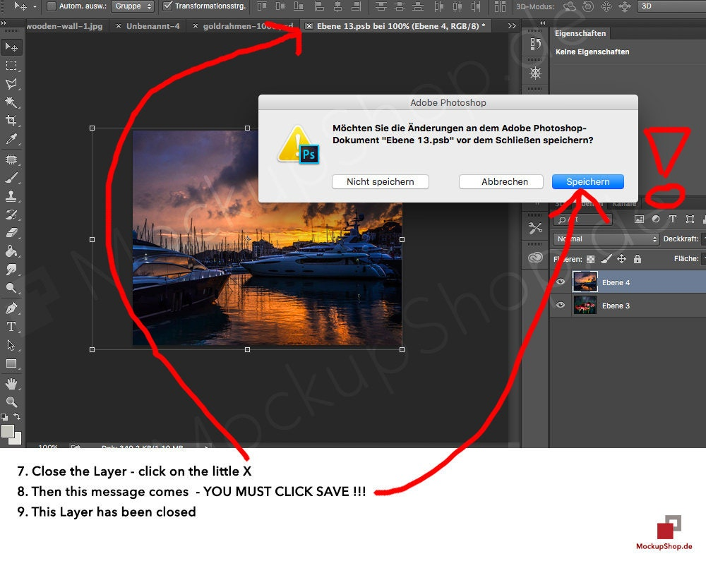 7. Close the Layer – click on the little X 8. Then this message comes – YOU MUST CLICK SAFE! 9. This Layer has beed closed