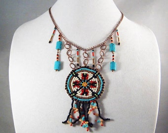 TRIBAL CORALING MEDALLION Necklace with Earrings