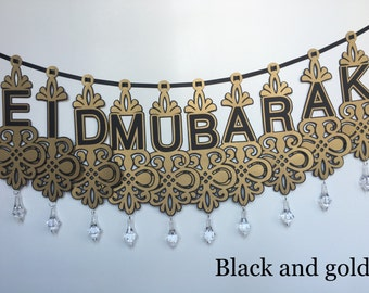 Eid/Ramadan/Hajj Banner with Gold Accents and Crystals