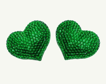 2 pcs Set Refrigerator magnets - Dark Green - Handmade Fully Rhinestones Blinged Out Heart  - Rhinestone Bling Bling Unique Gifts Idea