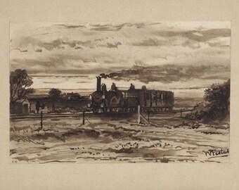 Egyptian landscape with train. Ink sketch by Willem de Famars Testas c1858