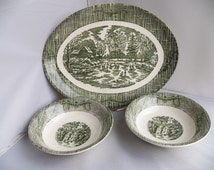 Vintage pottery currier & ives green  oval serving platter with two matching bowls