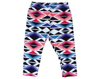 Geometric Tribal Baby Leggings Tribal Toddler Leggings Girl Baby Leggings Tribal Leggings Black and White Leggings Blue Pink White