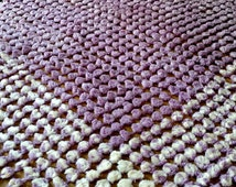 Vintage 1960's Woven Loom Tablecloth Shawl Purple White Pom Pom BoHo Style