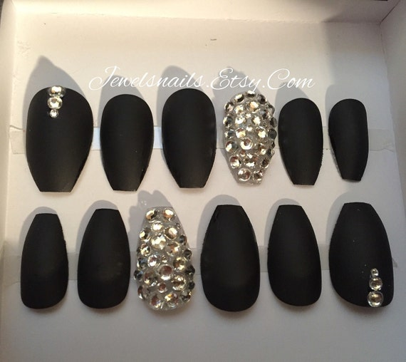 Items similar to Black Matte x High quality rhinestones x ...