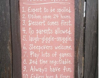 Grandma's House Rules Sign, family saying, funny grandma sign, nana sign, grandma gift, 181/106