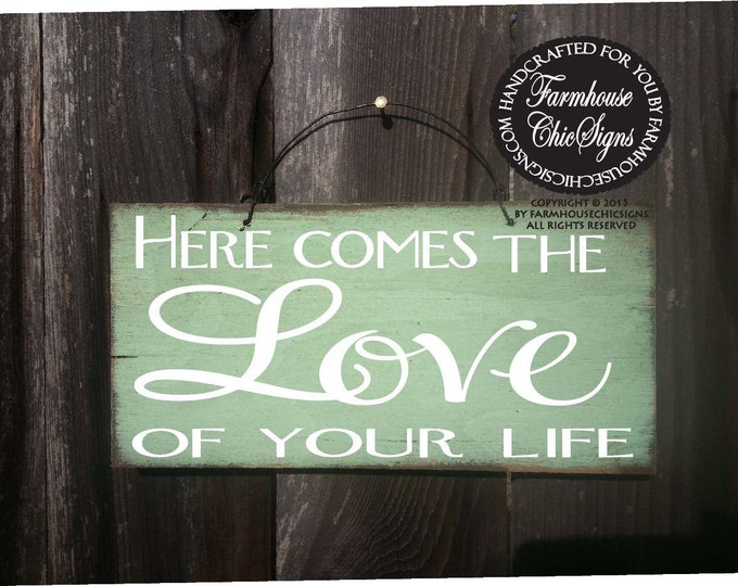 ring bearer sign, ring barer sign, wedding sign, here comes the love of your life, wedding decoration, rustic wedding decor, 129/128