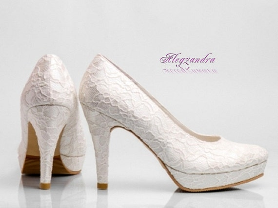 white lace platform wedding shoes ivory lace platform bridal